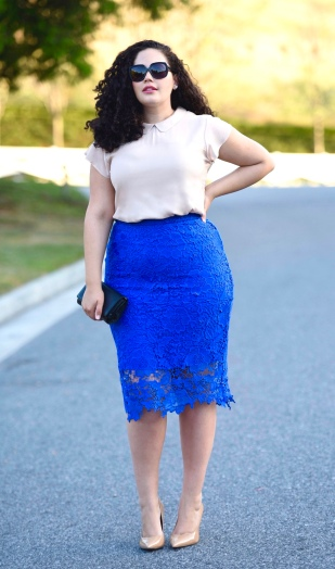 Floral Lace Overlay Pencil Skirt