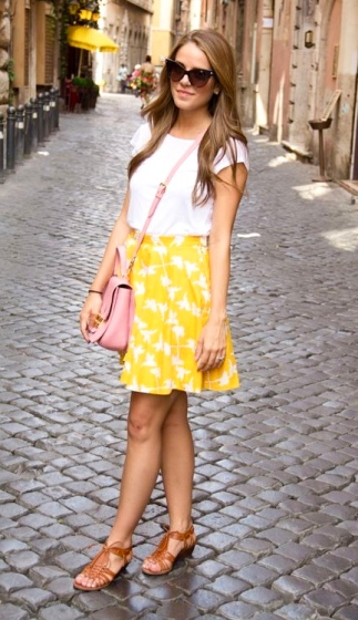 Bright Yellow Floral Mini Skirt