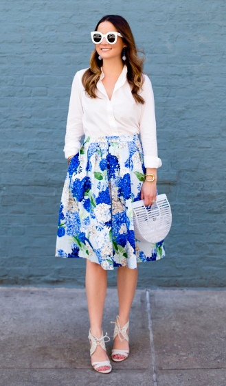 Bright Blue Hydrangea Midi Skirt