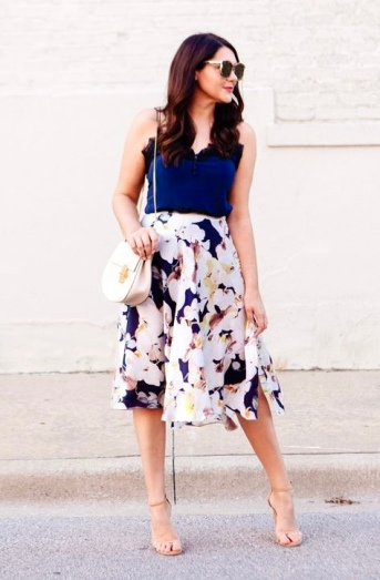 Navy Floral Side Slit Midi Skirt