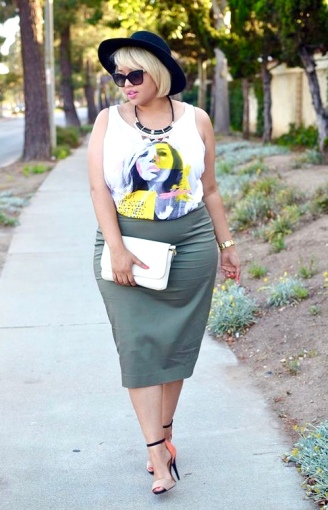 Graphic Tee + Olive Pencil Skirt