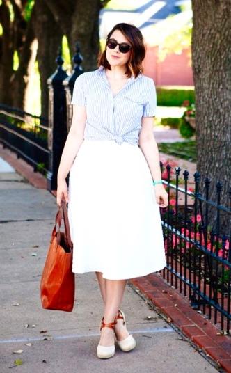 Blue Stripes + White Midi Skirt
