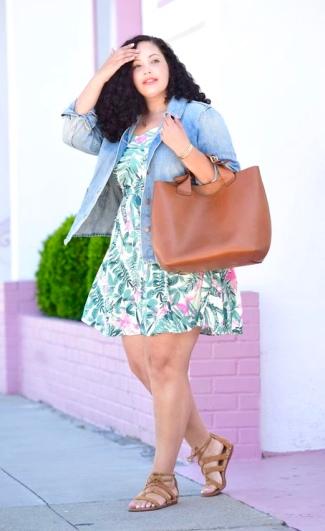 Tropical Print Mini Dress + Denim Shirt Jacket
