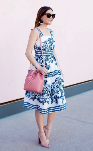 Blue Printed Sundress + Pink Accessories