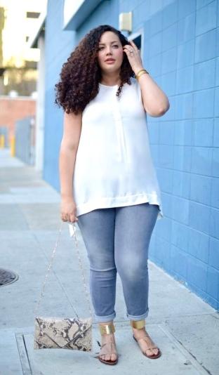 White Sheer Tunic + Light Blue Denim