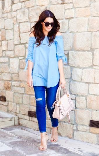 Blue Off-Shoulder + Bright Blue Denim