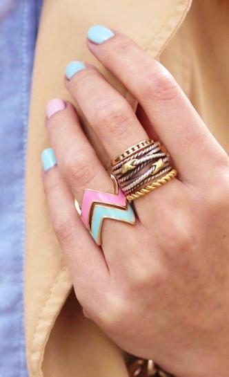 Mixed Metal + Colored Chevron